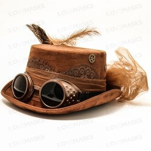 Steampuck hat with goggles and feather